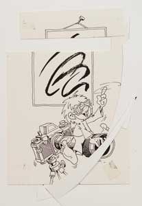 Rückseite einer Fotocollage von Ellis Kaut mit Pumuckl-Skizze (im Archiv der SML)