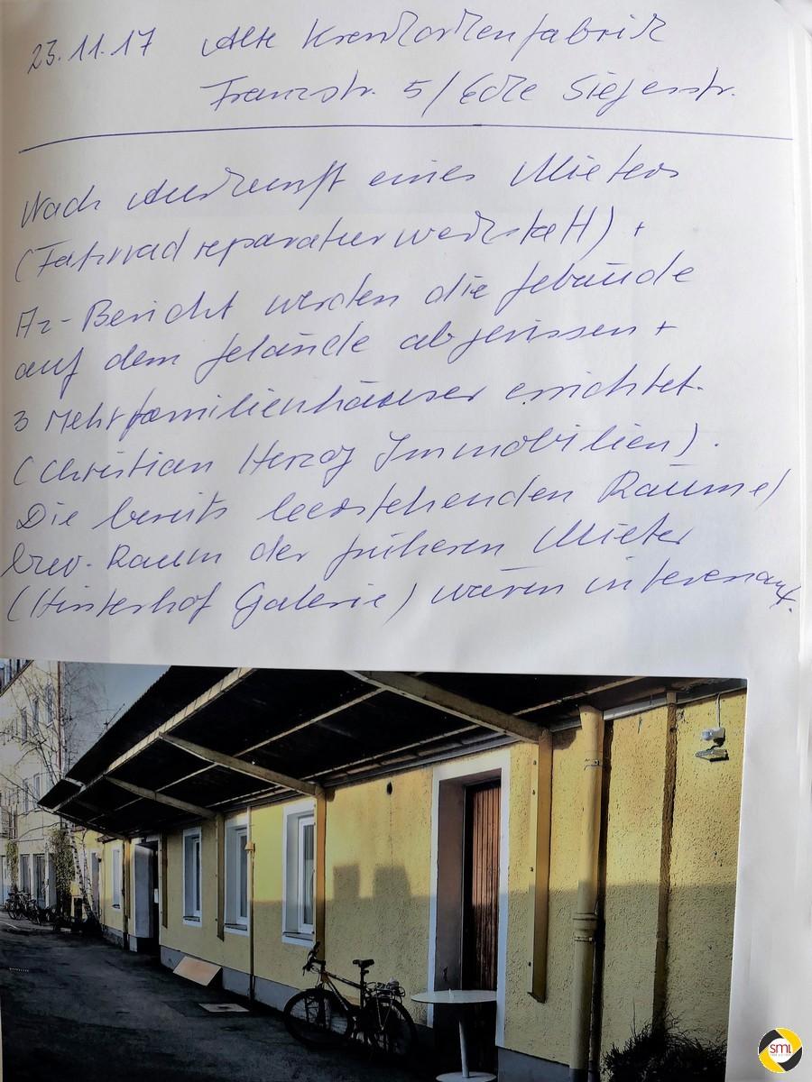 Eintrag im Arbeitsbuch 'Schwabinger Künstler' © Christa Gschwentner