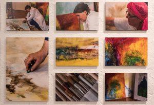Tableau mit Fotografien der Ausstellung Schwabinger Künstler
